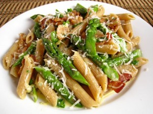 PASTA CARBONARA WITH ASPARAGUS